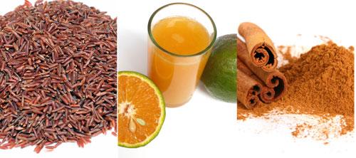 Gạo lức, nước cam, bột quế... giúp giảm lượng cholesterol xấu trong cơ thể ảnh: Đ.N.Thạch - Hạ Huy - Shutterstock