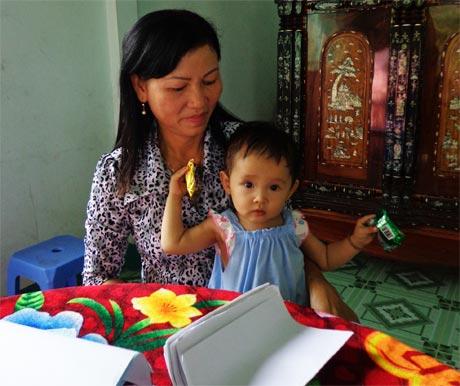 Cháu Lương Thị N.T. (ấp Trường Xuân B, xã Thanh Bình, huyện Chợ Gạo) phát triển bình thường nhờ phát h