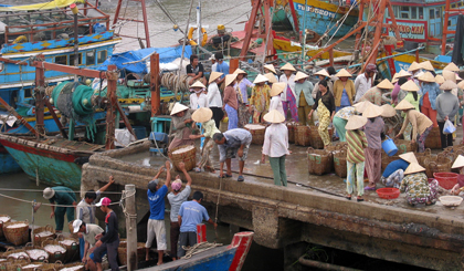 Vam Lang - the busy fishing port