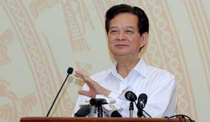 Thủ tướng Nguyễn Tấn Dũng phát biểu chỉ đạo Hội nghị. Ảnh VGP/Nhật Bắc
