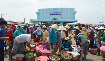 Vinh Kim fruit market at the end of year