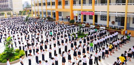 Học sinh trường chuẩn Quốc gia Tân Hội Đông, huyện Châu Thành.