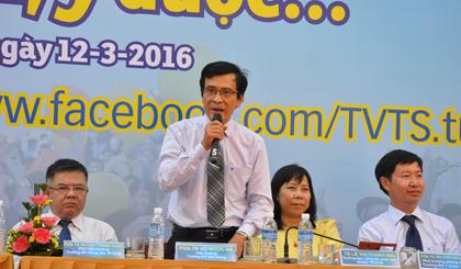 PGS-TS Võ Ngọc Hà tư vấn cho TS phương thức xét tuyển vào Trường Đại học Tiền Giang.