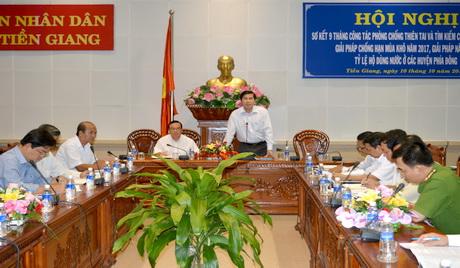 Chủ tịch UBND tỉnh Lê Văn Hưởng chủ trì Hội nghị bàn giải pháp phòng, chống thiên tai thời gian tới.