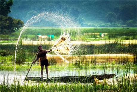Mặc dù diện tích canh tác nông nghiệp và thủy sản chưa tới 30% của cả nước, nhưng đồng bằng sông Cửu Long đóng góp hơn 50% diện tích lúa, 71% diện tích nuôi trồng thủy sản, 30% giá trị sản xuất nông nghiệp và 54% sản lượng thủy sản của cả nước. Ảnh: Travel.edu