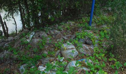 Đống chất thải tại điểm tập kết ven tỉnh lộ 867 chưa vận chuyển vào khu đất chôn lấp.