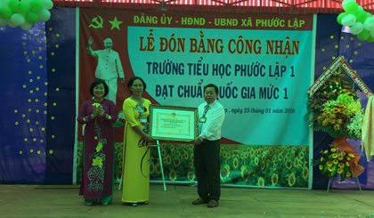 Phuoc Lap 1 Primary school meets the level 1 of national standard