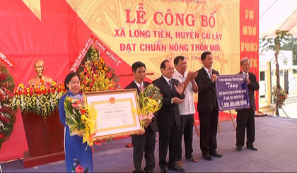 Provincial People's Committee awarded certificates of achievement of new rural standards and emulation flags for Long Tien commune.