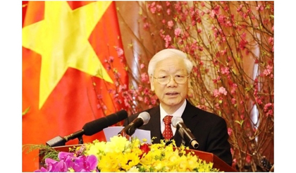 Party General Secretary Nguyen Phu Trong speaks at the get-together. (Photo: VNA)