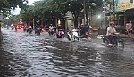 My Tho city flooded with water after an early rain