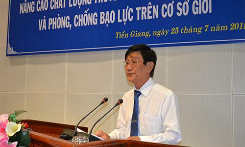 Giám đốc Sở Lao động, Thương binh và Xã hội tỉnh Tiền Giang Phạm Minh Trí phát biểu tại hội thảo