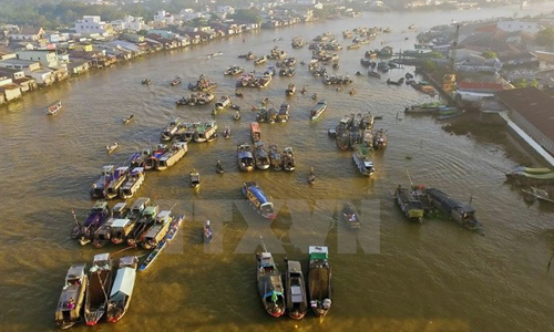 Cai Rang floating market - a tourist attraction in the Mekong Delta city of Can Tho (Photo: VNA)