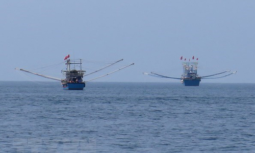 Fishing boats off the coast of Quy Nhon city, Binh Dinh province (Photo: VNA)