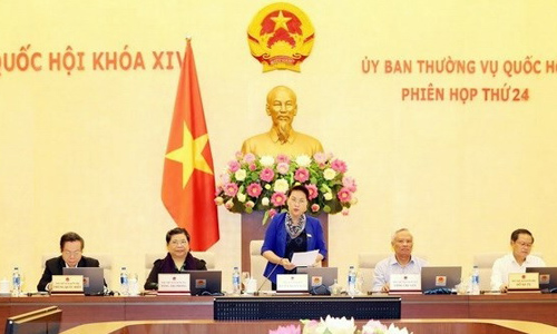 NA Chairwoman Nguyen Thi Kim Ngan speaks during the 24th meeting of the 14th NA Standing Committee. (Photo: VNA)