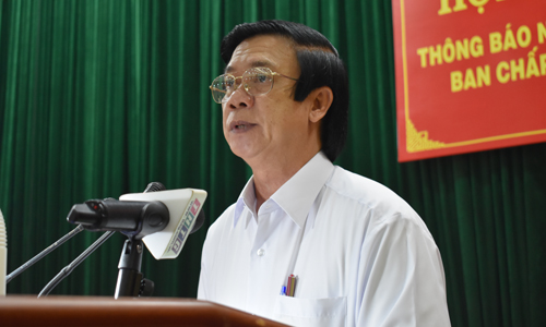 Secretary of the Tien Giang provincial Party Committee Nguyen Van Danh speaks at the conference. Photo: P.MAI