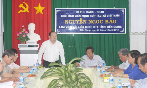 Chủ tịch Liên minh HTX Việt Nam Nguyễn Ngọc Bảo phát biểu tại buổi làm việc với Liên minh HTX Tiền Giang.