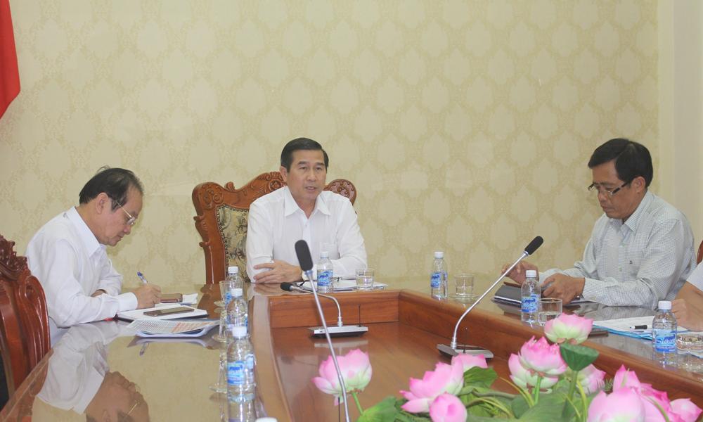 Chủ tịch UBND tỉnh Lê Văn Hưởng phát biểu tại buổi làm việc.