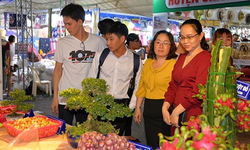 People visit the Trade - Tourism Fair of Tien Giang province in 2019.