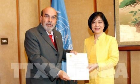 Director General of the Food and Agriculture Organization (FAO) of the United Nations Jose Graziano Da Silva and Permanent Representative of Vietnam to FAO Ambassador Nguyen Thi Bich Hue (right) (Photo: VNA)