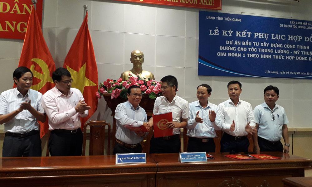 UBND tỉnh Tiền Giang và doanh nghiệp dự án cùng Liên doanh các nhà đầu tư ký kết phụ lục hợp đồng Dự án giai đoạn 1.